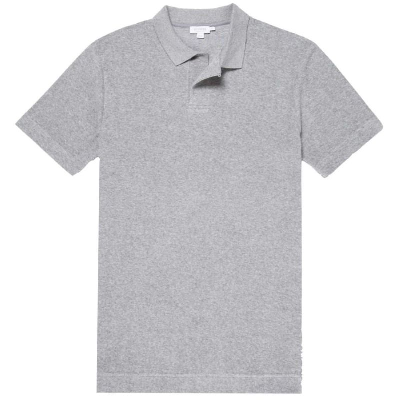 Sunspel Polo Terry Towelling Grey Melange